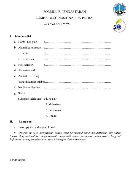 contoh formulir pendaftaran lomba