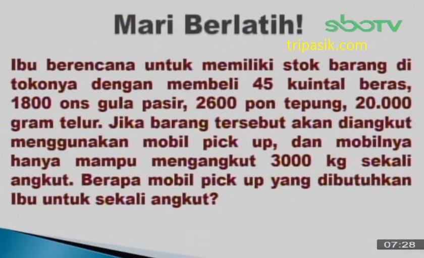 Soal dan Jawaban SBO TV 26 November SD Kelas 4