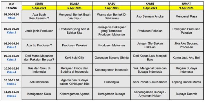 Jadwal Belajar TVRI Minggu Ke-14 Tahun 2021 (BDR)
