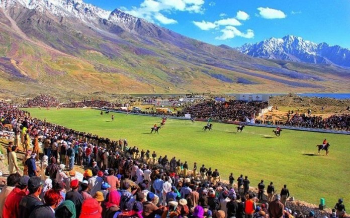 Polo being played at shandur polo festival