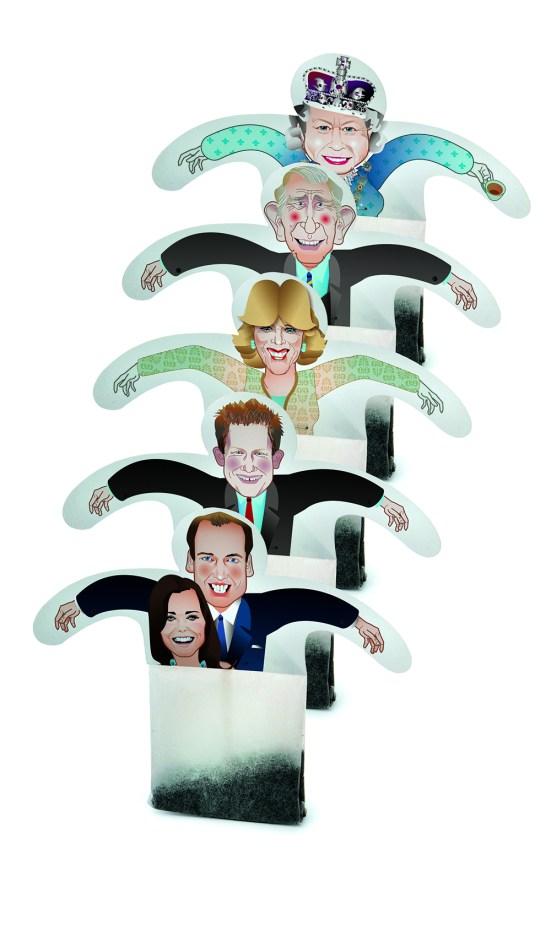 saquinhos de chá da família real