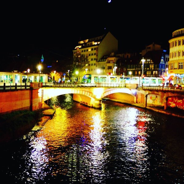 Bridge over the River Ill, lit up with Christmas lights, Strasbourg