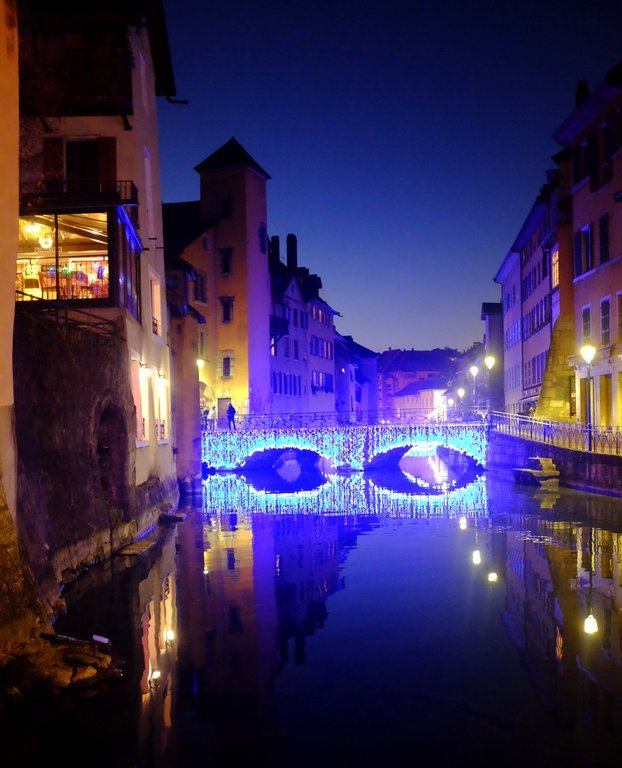 Blue lights on a bridge over the cabal in Annecy