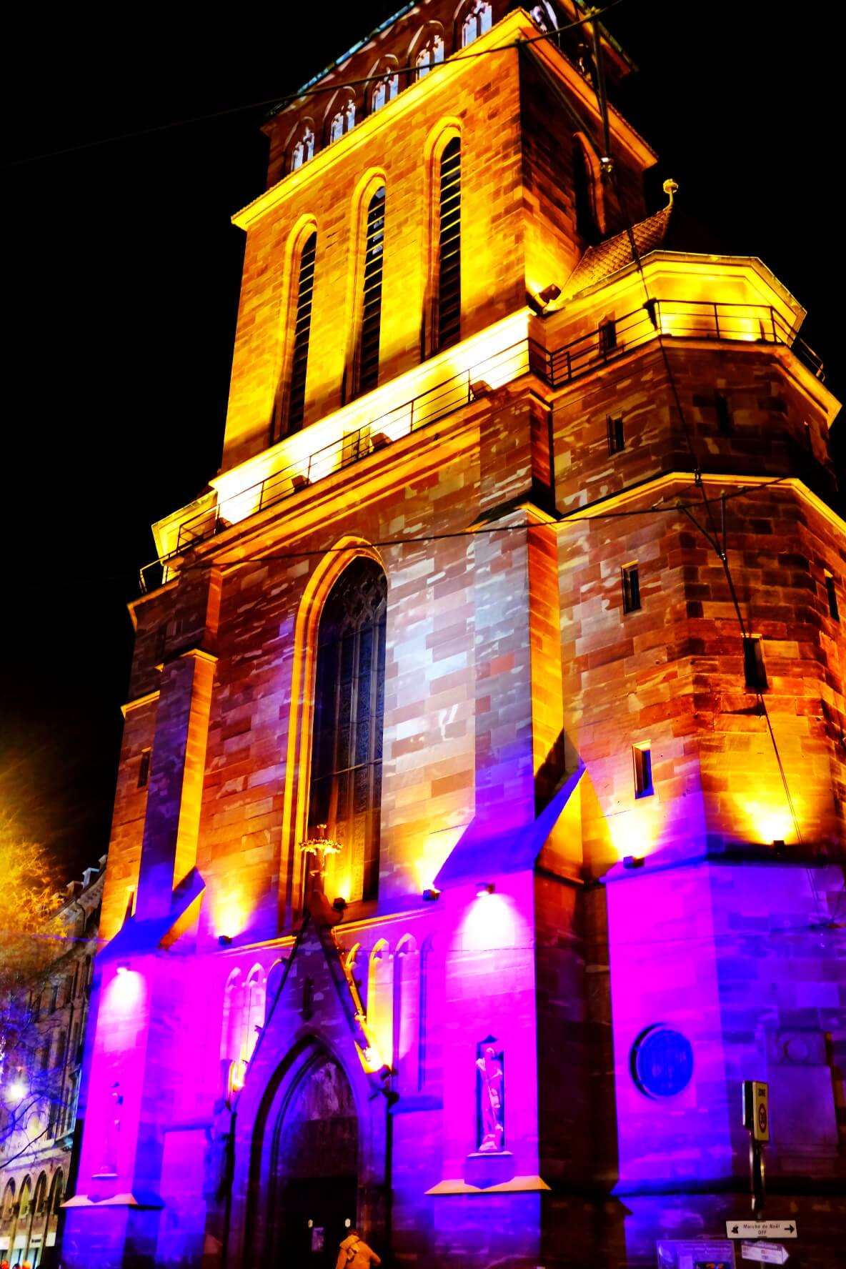 Church in Strasbourg, lit up with Christmas lights
