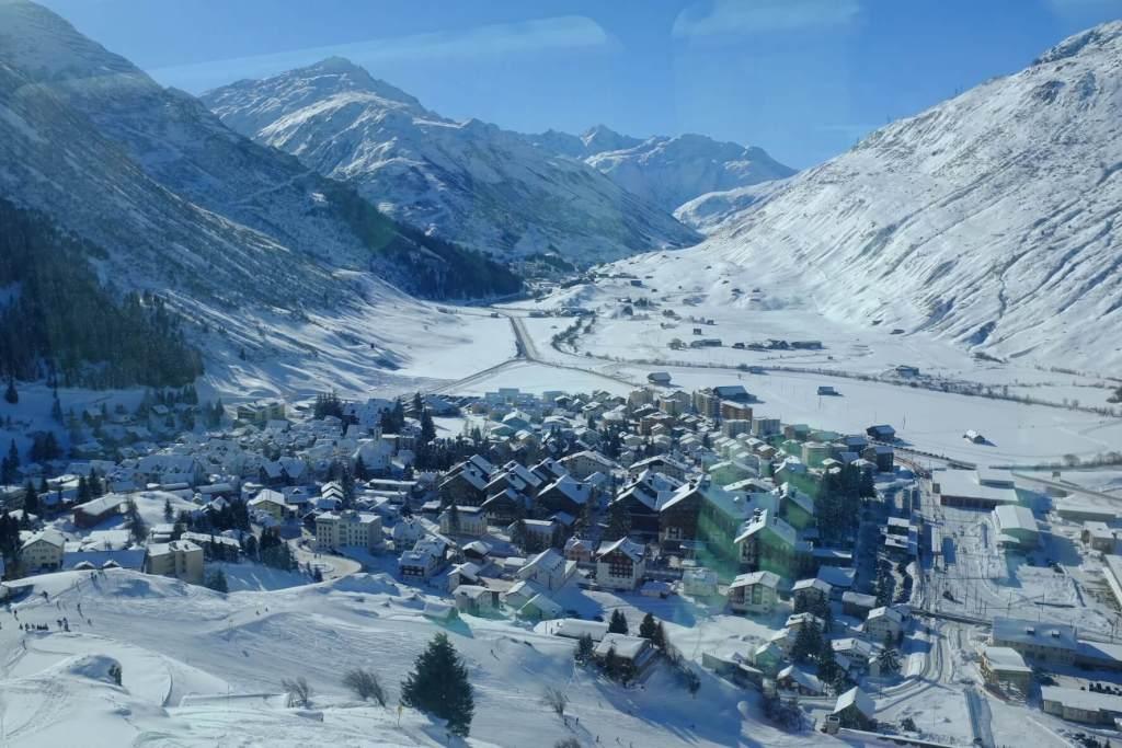 Andermatt as seen from the Glacier Express