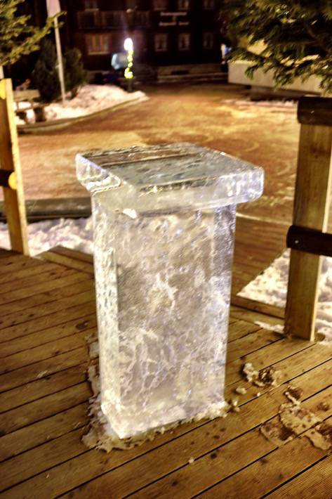 A table made completely from ice in Zermatt