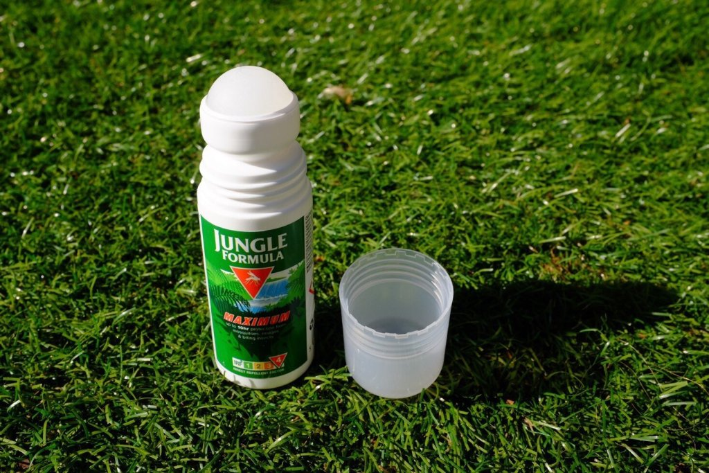 A roll on Jungle Formula insect repellent. The lid is off