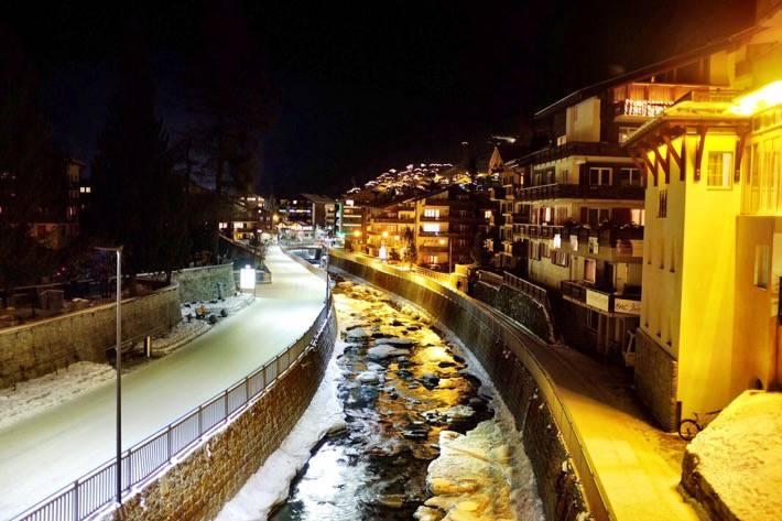 River Matter Vispa at night in Zermatt