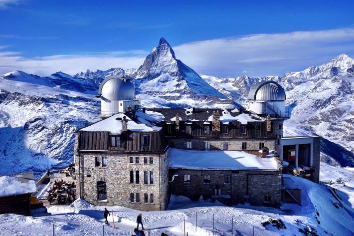 The backside of the observatory on top of the Gornergrat