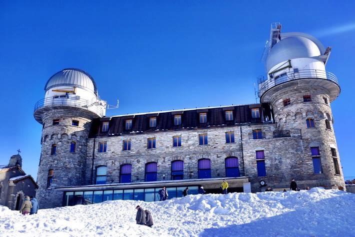 Front of the Observatory on top of the Gornergrat in Zermatt