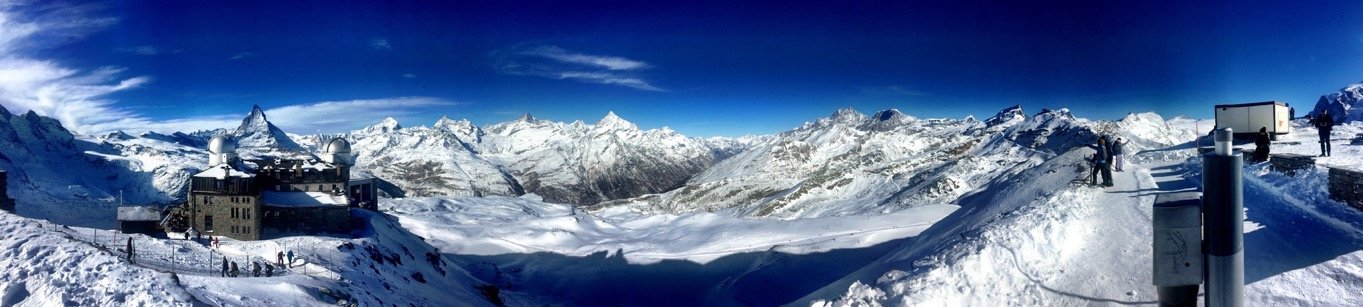 Panorama Picture made on top of the Gornergrat. You can see the Matterhorn, the Monte Rosa and many mor mountains who are higher than 4000 meters. Near Zermatt