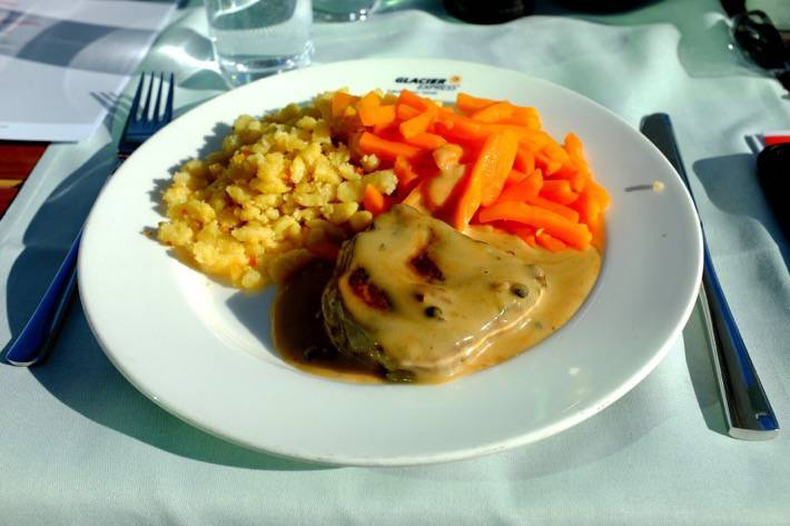 Pfeffersteak, Spaetzle and Carrots. This is the lunch we had on our trip with the Glacier Express