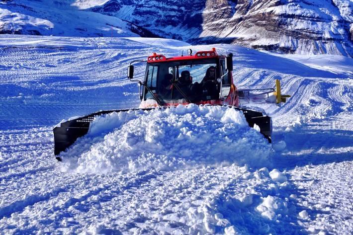Snowplow preparing the pists in Zermatt