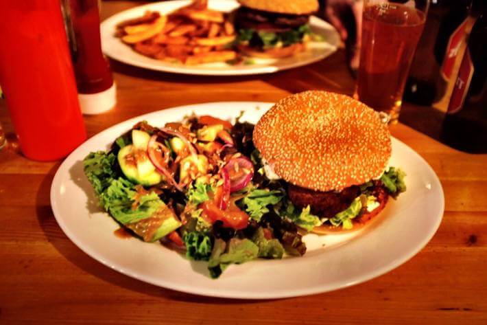 "The Moroccan Veggie Burger we ate in a place called ""The Bubble"" in Zermatt"