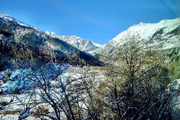 View of a snowy landscape from the Glacier Express