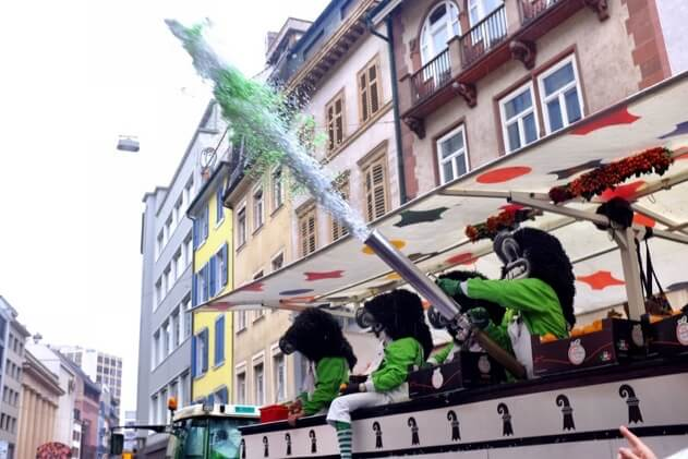A cannon for firing confetti over the crowds enjoying Basel Fasnacht