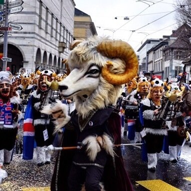 Sheep masked conductor of a Guggenmusik band at the Basel Fasnacht cortege