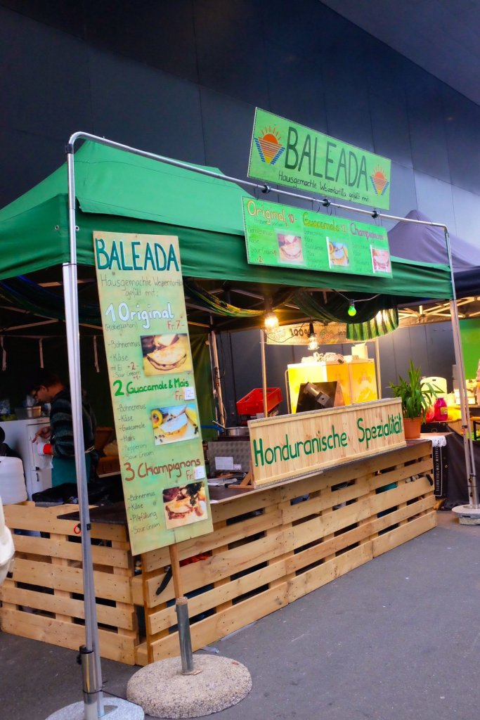 A rather exotic food stall at the Street Food Festival Basel: Honduran Baleadas