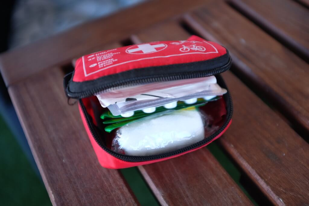 first aid travel kit opened by Trip Gourmets
