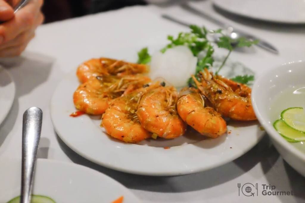 Halong bay cruise review shrimps dinner