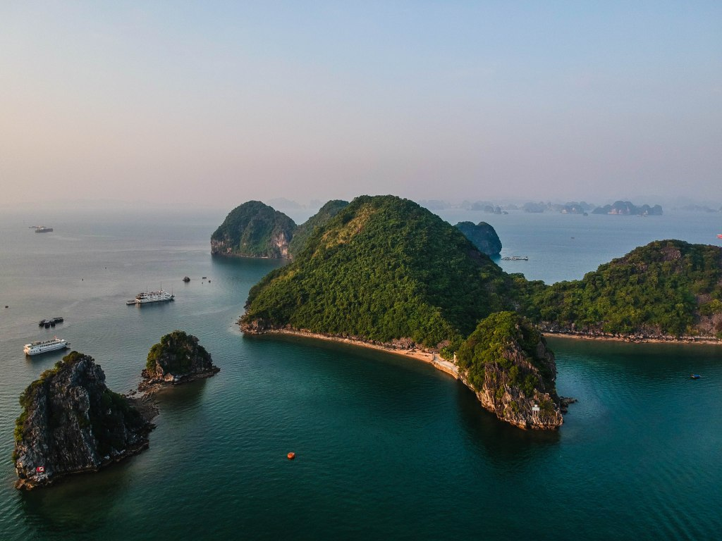 Drone picture of one of the islands we saw on our Halong bay cruise review