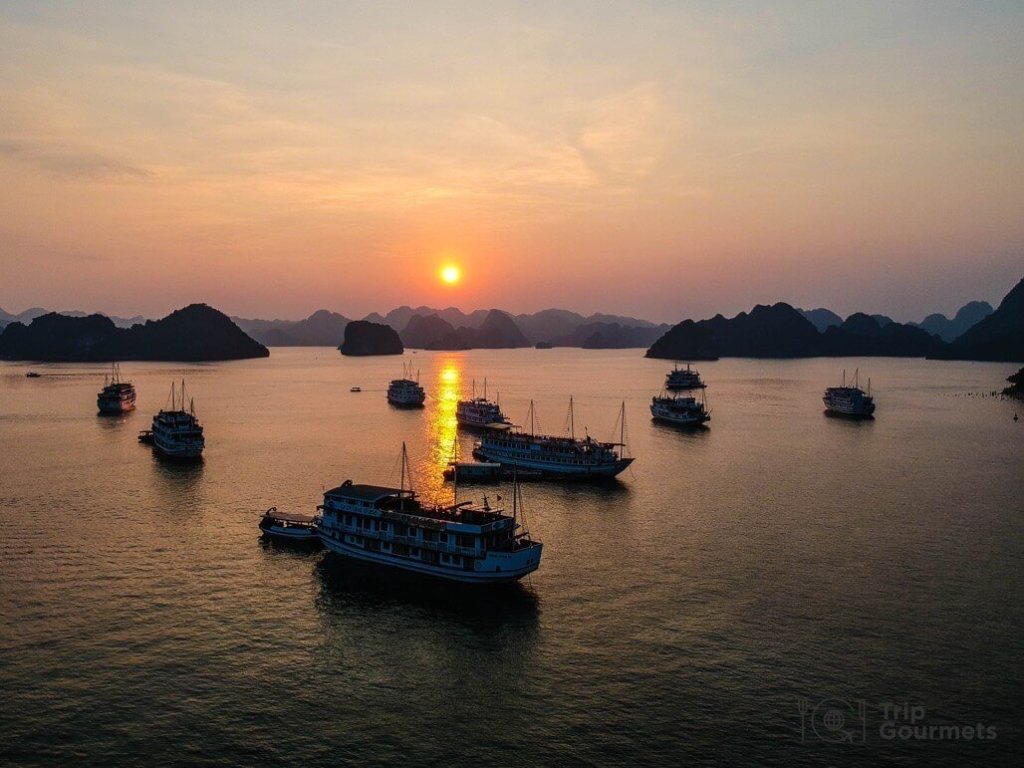 Halong bay cruise review sunset drone dji spark boats islands islets