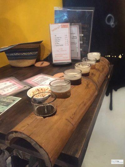 Food in Hanoi Old Quarter fur brew tasting board beer