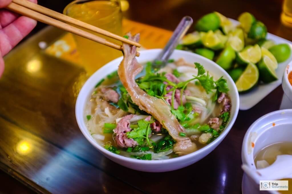 Food in Hanoi Old Quarter pho 10 bacon soup vietnamese
