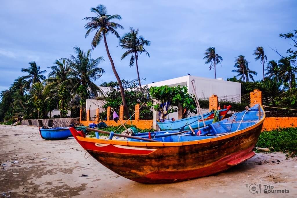 Things to do in Mui Ne Muine colourful boat ship palms sand
