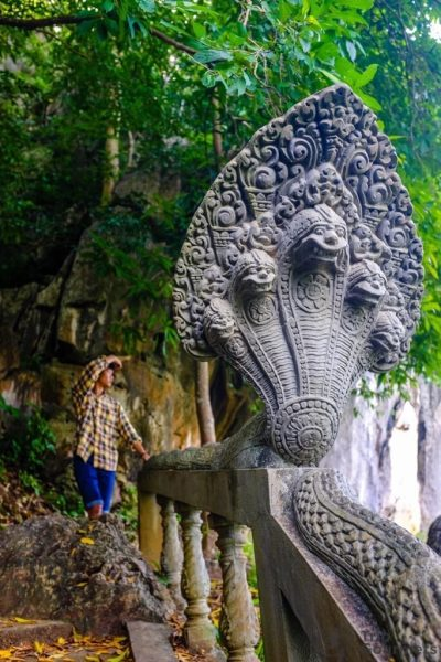 Things to do in Kampot Cambodia Naga Statue Snake Phnom Chhngok