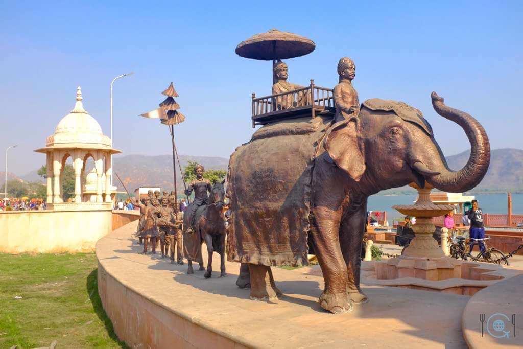 Jaipur itinerary Elephant statues at Jal Mahal