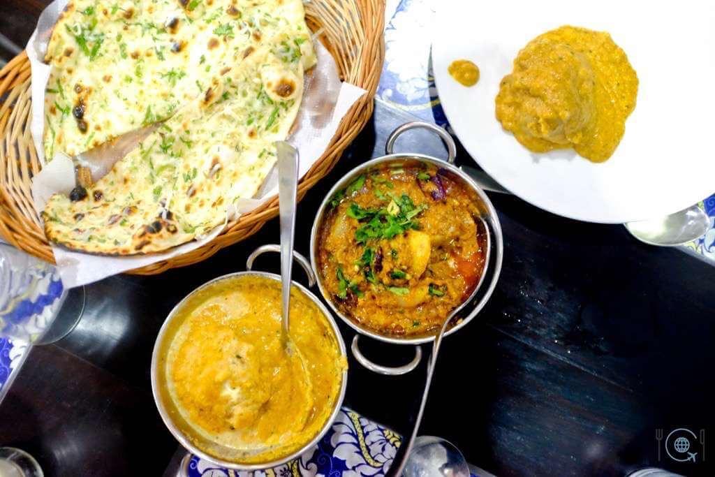 Jaipur itinerary Indian Food Jal Mahal Aloo Pyaz and Kashmiri Kofta with Special Naan