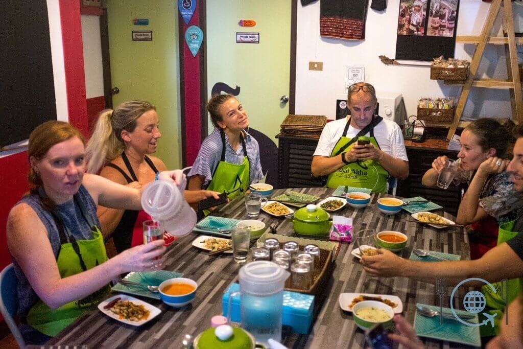 Cooking School Chiang Mai Gathered Group eating