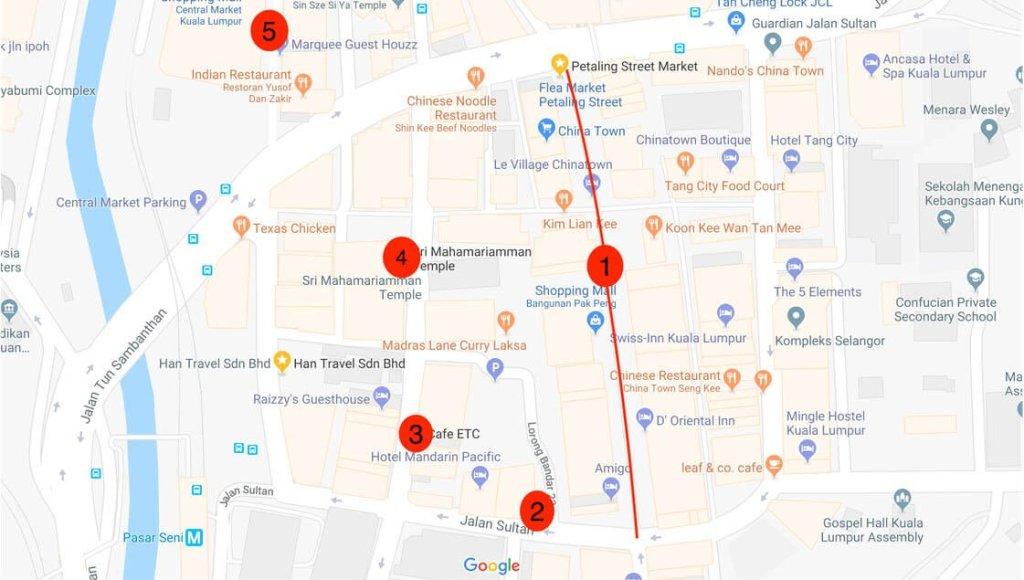Kuala Lumpur Itinerary Chinatown Map