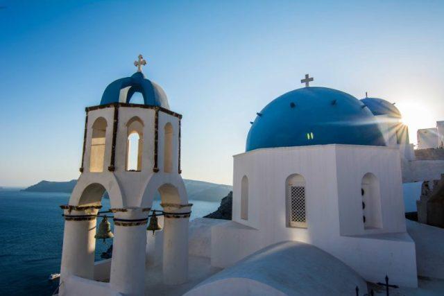 Las cúpulas azules de Santorini