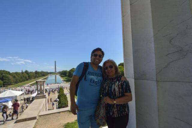Con Haydée en el monumento a Lincoln
