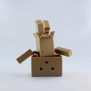 Cardboard boxes stacked in the shape of the robot