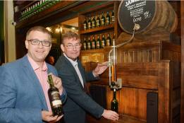 No Reproduction Fee ÒCork April 20th, 2015 Brian Nation Master Distiller, Irish Distillers Pernod Ricard (left), was the first person to individually bottle a 700ml bottle of cask strength whiskey in Cork at the launch of ÔBottle Your OwnÕ in the Jameson Experience, Middleton.Ó Picture also shows Tommy Keane, General Manager Midleton Distilleries bottling a cast strength Jameson. From today visitors to the Jameson Experience have the opportunity to bottle their own cast strength Jameson Whiskey. Pic John Sheehan Photography