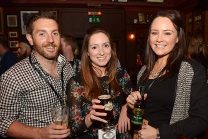 No Reproduction Fee Barry Fitzpatrick, Fiona Creedon and Fiona Carroll, pictured at the launch of the Franciscan Well Jameson-Aged Pale Ale. Pic John Sheehan Photography
