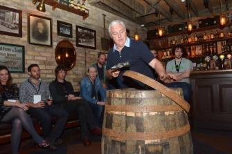 No Reproduction Fee Jameson Cooper Ger Buckley pictured at the launch of the Franciscan Well Jameson-Aged Pale Ale in the Oliver Plunkett, Cork, where he demonstrated how to build a whiskey cask. Pic John Sheehan Photography