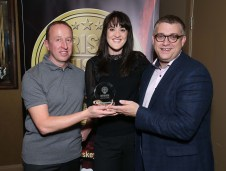Pictured at the Irish Whiskey Awards 2016 which took place in the Tullamore Distillery Visitor Centre recently (20th October 2016) were Ally Alpine and Brian Nation with Grace O'Sullivan of Irish Distillers Pernod Ricard, who was awarded a Gold Medal for Jameson Black Barrell in the Irish Blended Whiskey (RRP of less than €60) category. For further information please contact O'Leary PR 01-6789888
