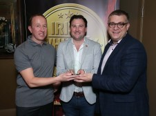 Pictured at the Irish Whiskey Awards 2016 which took place in the Tullamore Distillery Visitor Centre recently (20th October 2016) were Ally Alpine and Brian Nation with Gerard Garland of Irish Distillers Pernod Ricard, who was awarded a Gold Medal for Jameson Crested in the Irish Blended Whiskey (RRP of less than €60) category For further information please contact O'Leary PR 01-6789888