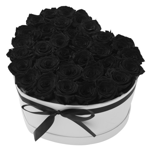 Flowerbox in heart shape with black roses