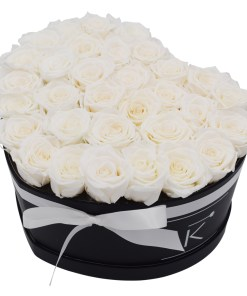 Flowerbox in Heart form white white roses