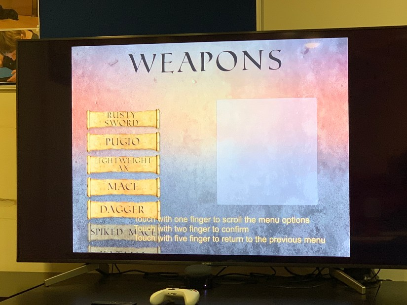 A game screen from an audiogame.