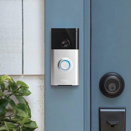 Ring video doorbell 2 outside a front door.