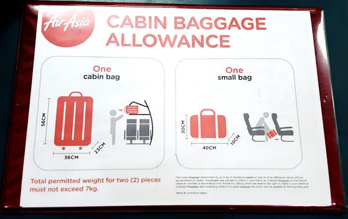 亞航行李尺寸,手提包尺寸