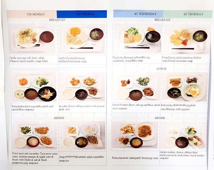 語言學校菜色, 吃些什麼, 早餐, 午餐, 晚餐
