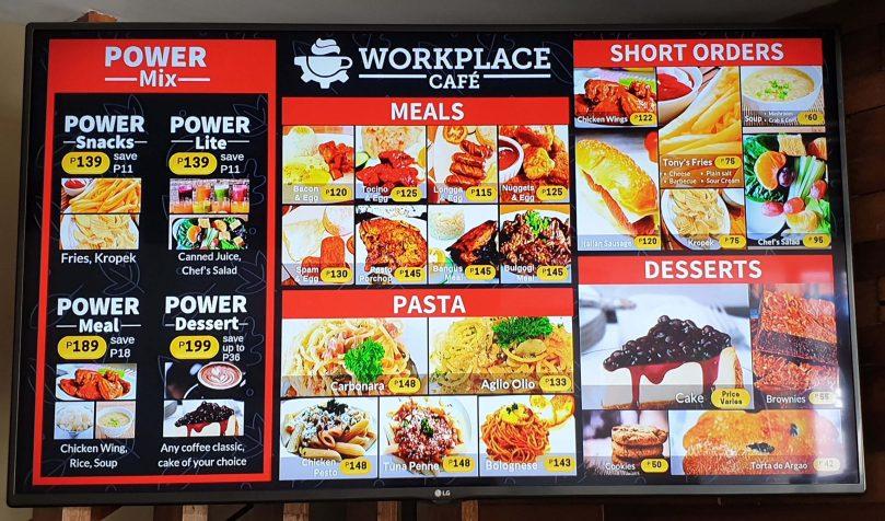 Workplace餐點價目表