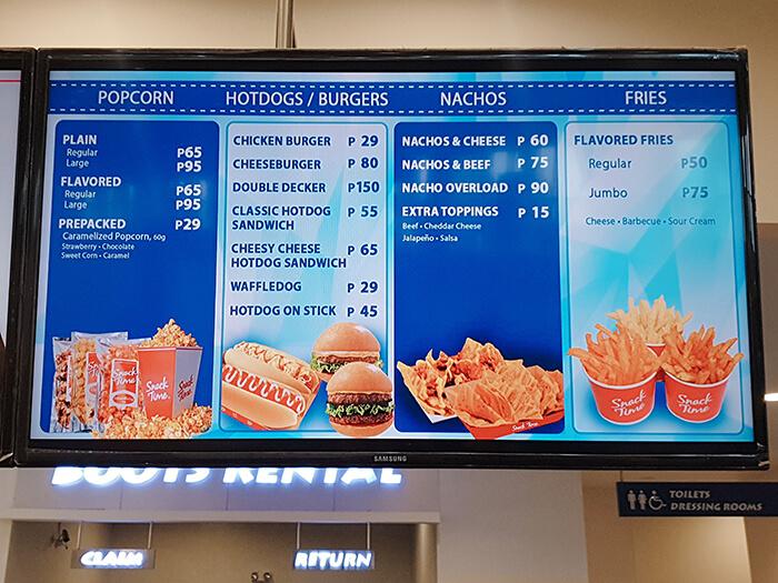 溜冰場販賣部, 爆米花, 熱狗, 漢堡, 脆餅, 炸薯條